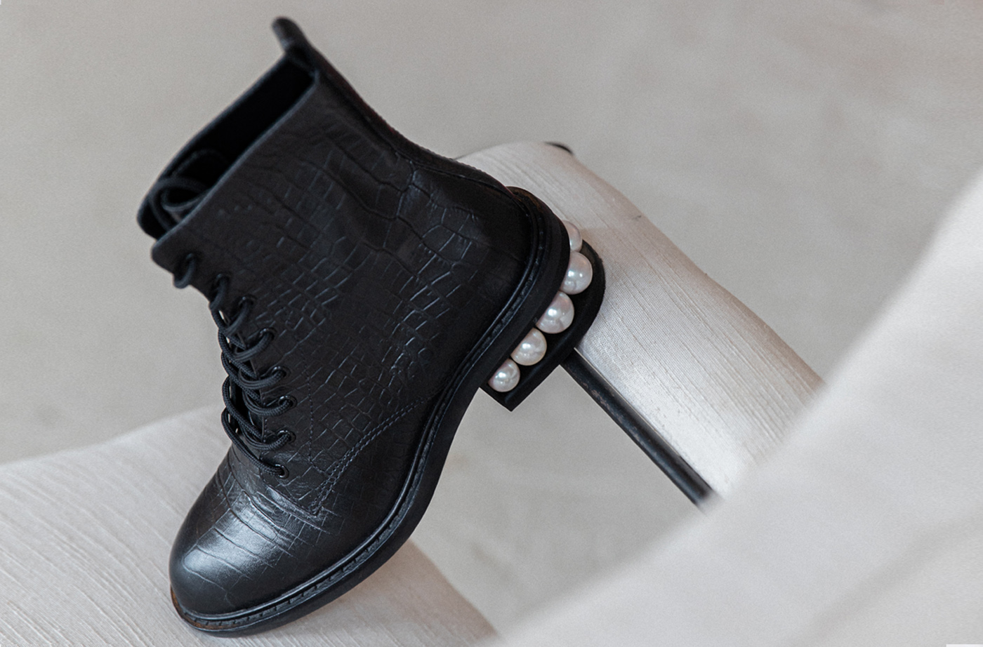 Black croc embossed sustainable boot